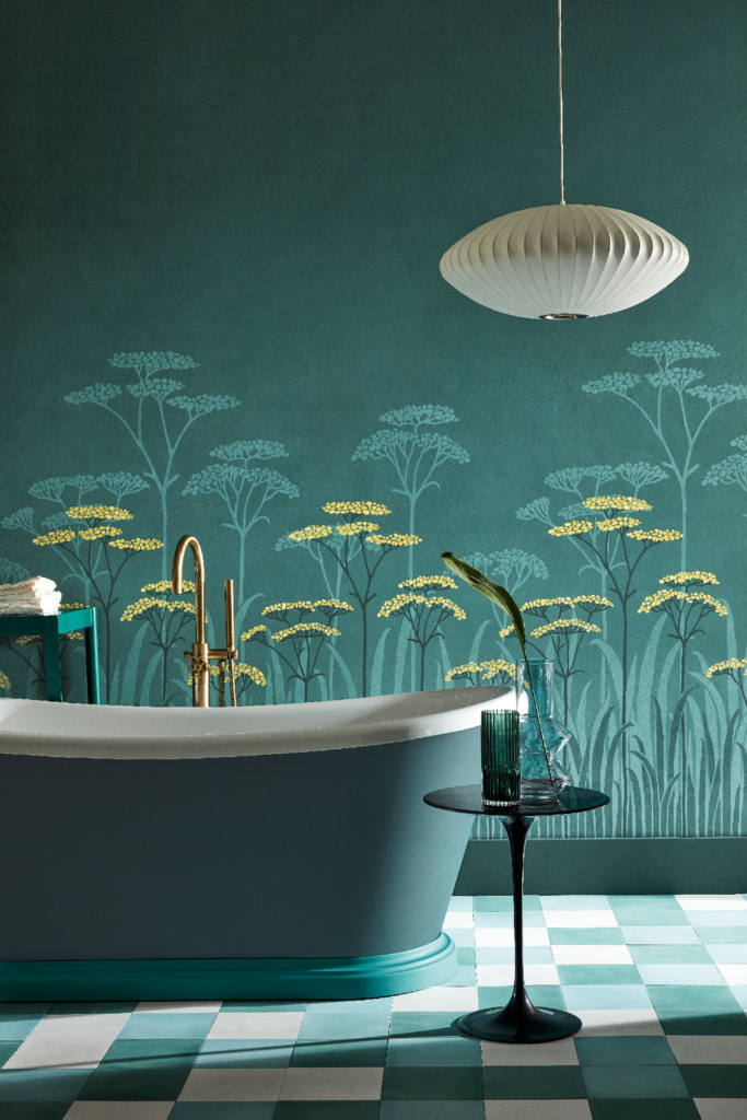 statement wallpaper Achillea Aurora wallpaper National Trust Collection Little Greene